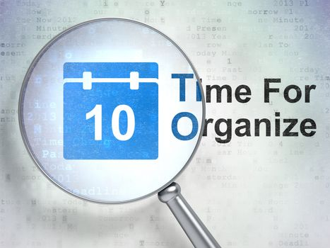 Timeline concept: Calendar and Time For Organize with optical glass