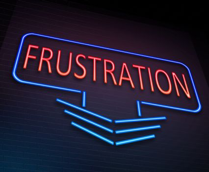 Illustration depicting an illuminated neon sign with a frustration concept.