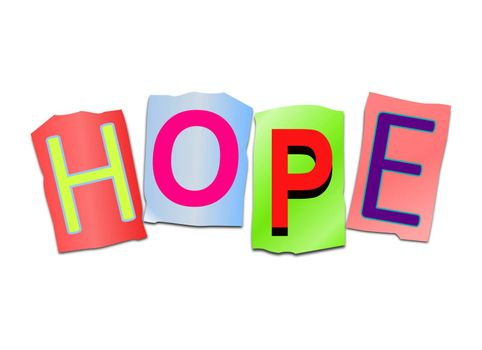 Illustration depicting a set of cut out printed letters arranged to form the word hope.