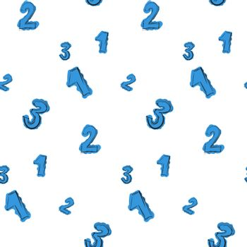Numbers hand drawn with careless blue color seamless pattern