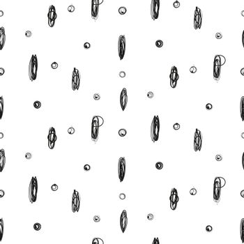 Simple imitation hand drawn ink point and circle scribble seamless pattern