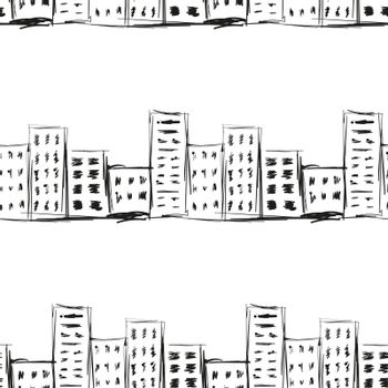Urban line landscape ink imitation hand drawn on a white background seamless pattern