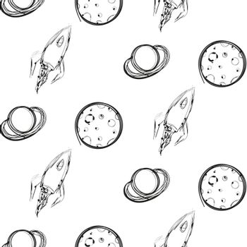 Planet and rocket hand drawn ink imitation, seamless pattern