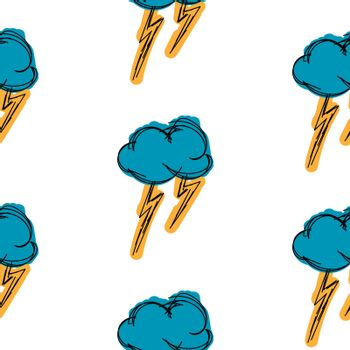 Thundercloud hand drawn is painted simple background seamless pattern