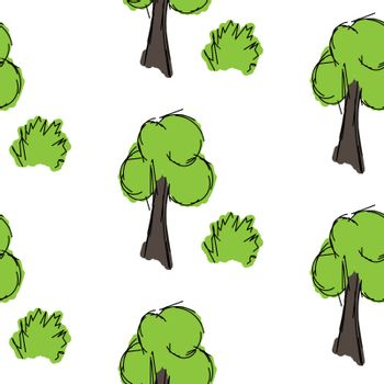 Tree and shrub hand drawn is painted on a white background, seamless pattern