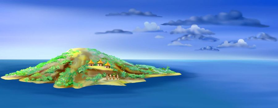 Digital painting of the Easter Island, a mysterious place in Pacific Ocean