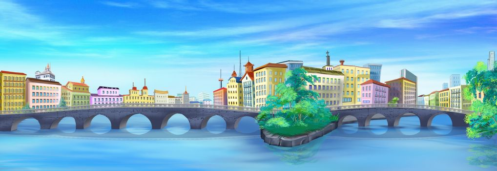 Digital painting of the bridges and streets of Paris in summer day. Panorama