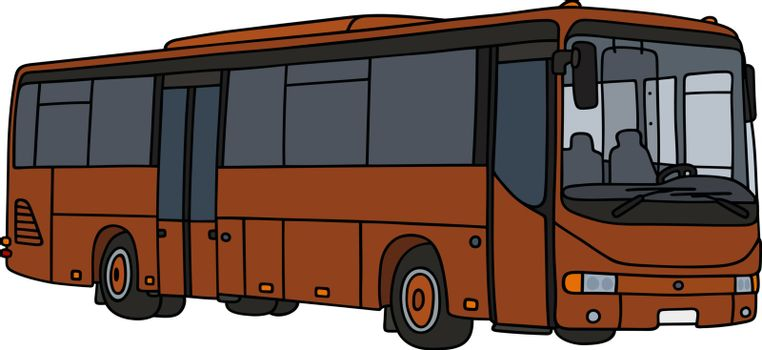 Hand drawing of a brown bus - not a real model