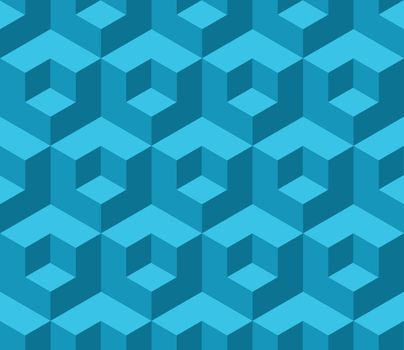 Blue cubic geometric seamless pattern