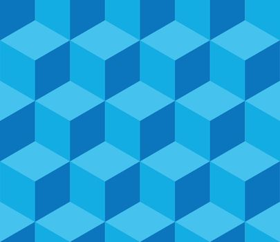 Blue cubic seamless pattern