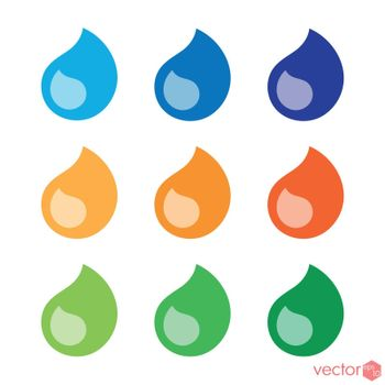 Drops flat style colored icons set