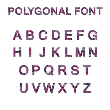 Polygon font alphabet purple pink color