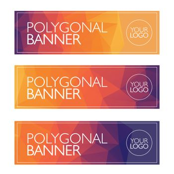 Polygon banner, bright background, pattern
