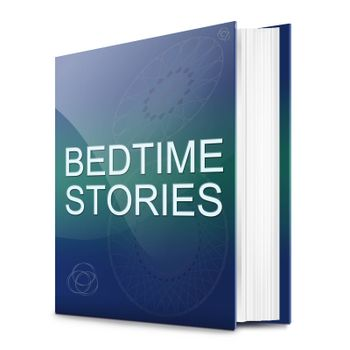 Illustration depicting a text book with a bedtime stories concept title. White background.