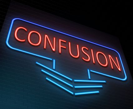 Illustration depicting an illuminated neon sign with a confusion concept.