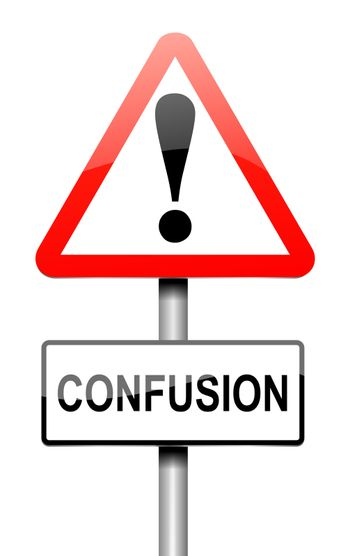 Illustration depicting a sign with a confusion concept.