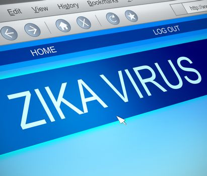 Illustration depicting a computer screen capture with a zika virus concept.