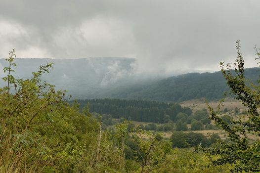 Landscape of Petrohan passage at Balkan mountain in cloudy day