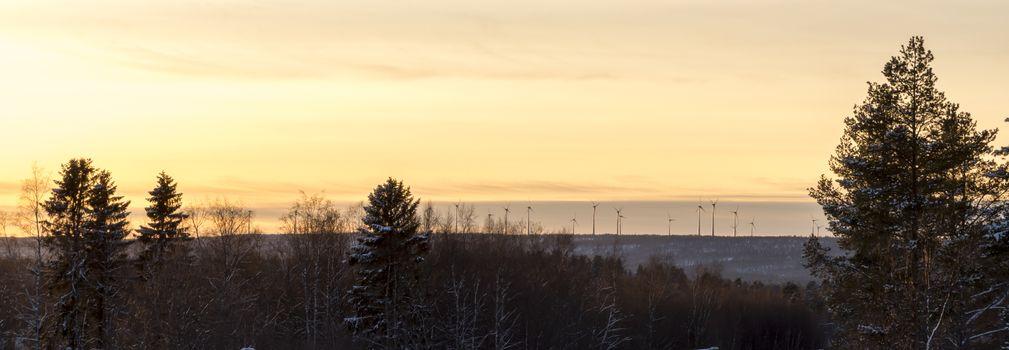 Wind Power Station in Winter in Sweden.