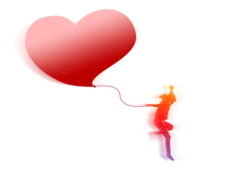 Colorful girl jumping and moving forward while holding the rope tie to big red heart balloon. They are isolated on white background.