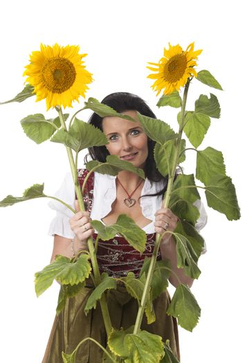 bavarian woman with sunflowers