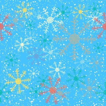 Christmas seamless background with snowflakes on blue sky.