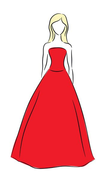 Vector outline of a girl in red dress