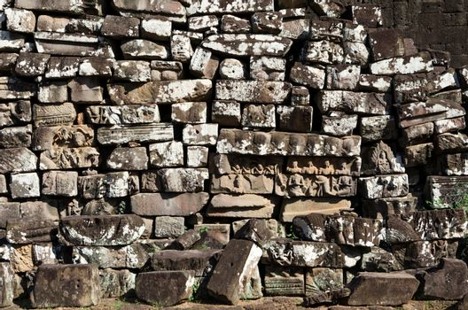 Texture of laterite in Bayon temple