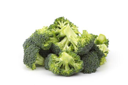 Raw broccoli on white background