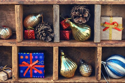 Christmas box with trinkets
