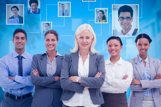 Composite image of business people with arms crossed smiling at camera