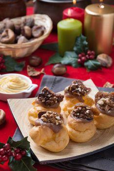 christmass bignè with walnuts and figs