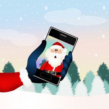 illustration of Santa Claus technology
