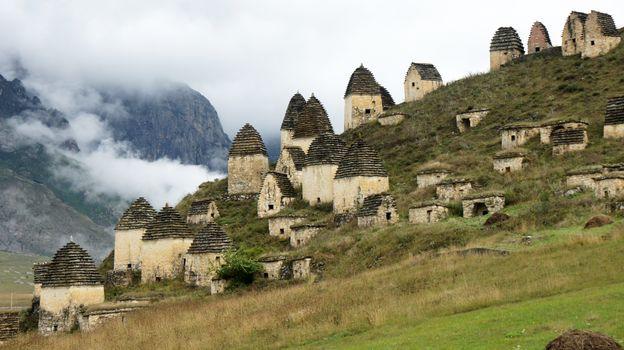 Crypts at hill near Dargavs village North Osetia