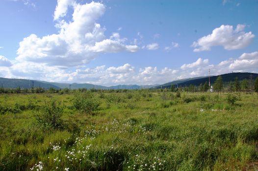 Tundra area with mountains near Bilibino town Chukotka