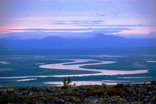 Kolyma river at tundra area