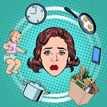 Woman housework sadness