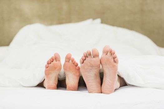 Close up of couples feet