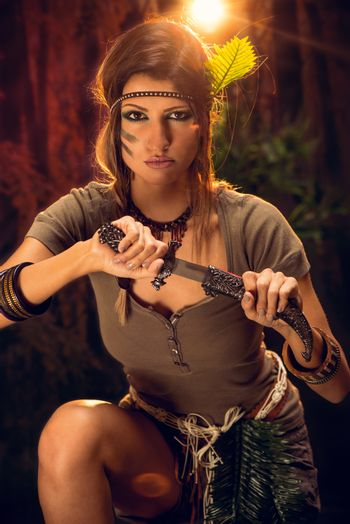 Warrior Woman With Combat Knife