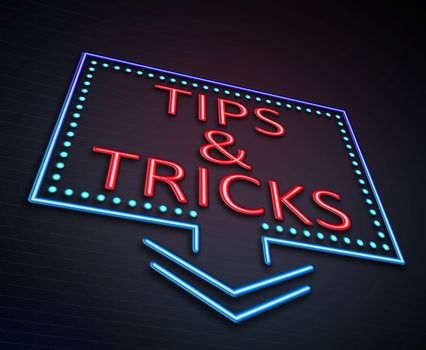 Illustration depicting an illuminated neon sign with a tips and tricks concept.
