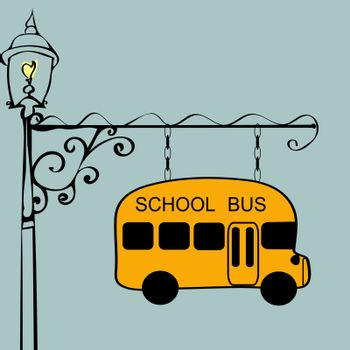 Vintage sign school bus stop. Urban transport. Children and students