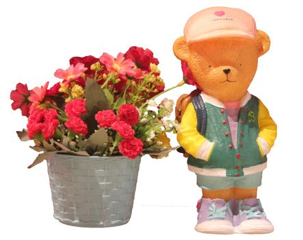 Valentine's Day - Bear with Flower - Isolated
