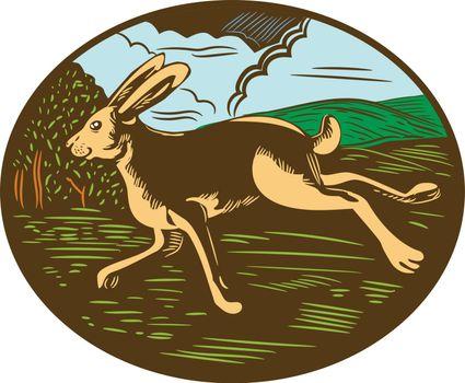 Wild Hare Rabbit Running Oval Woodcut