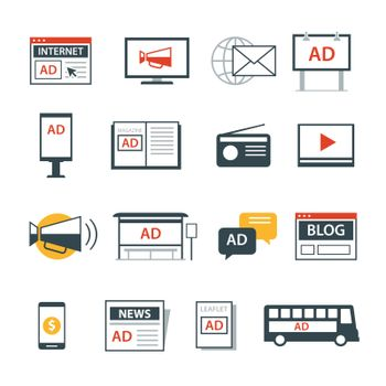 advertising media icon flat design