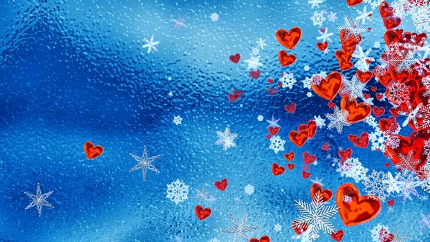 Set of hearts and snowflakes with a blue ice backdrop as a symbol of romantic love for the congratulations on Valentine's Day in february and winter weddings. Abstract horizontal background.