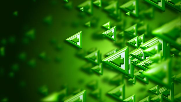 Moving group of arrows on green backdrop, as a concept and a sign of the right choice of internet community in cyberspace for determination direction and areas of cooperation of the crowd