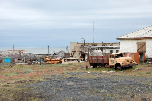 Abandoned industrial area at Arctic town Pevek
