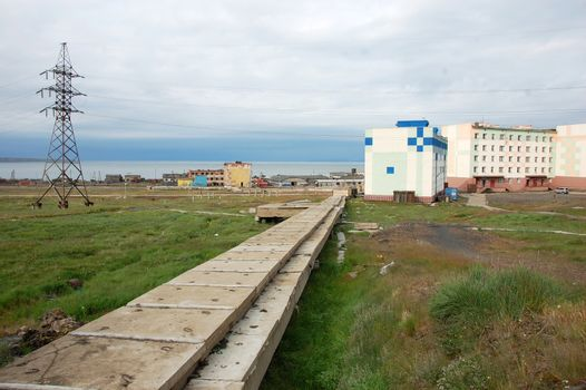 Water supply concrete collector Arctic town infrastructure
