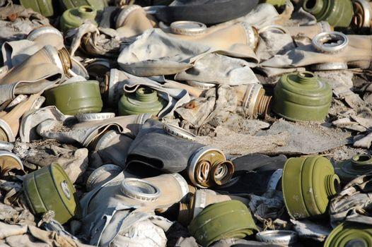 Old broken abandoned respirators at ground