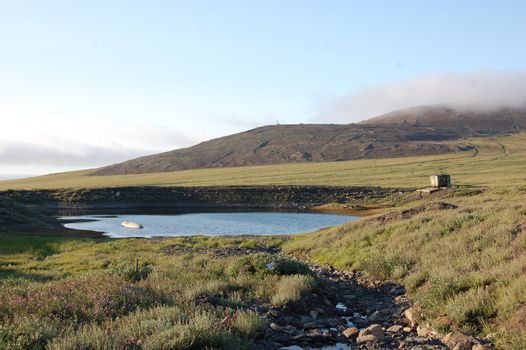 Tundra lake neak Pevek town Chukotka